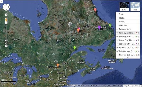 Itinéraire terrestre : de Montréal à Cartwright (A). Puis : étape actuelle, en bateau, de Cartwright à Nain, tout en haut. (Merci Jean-Charles pour cette contribution !)